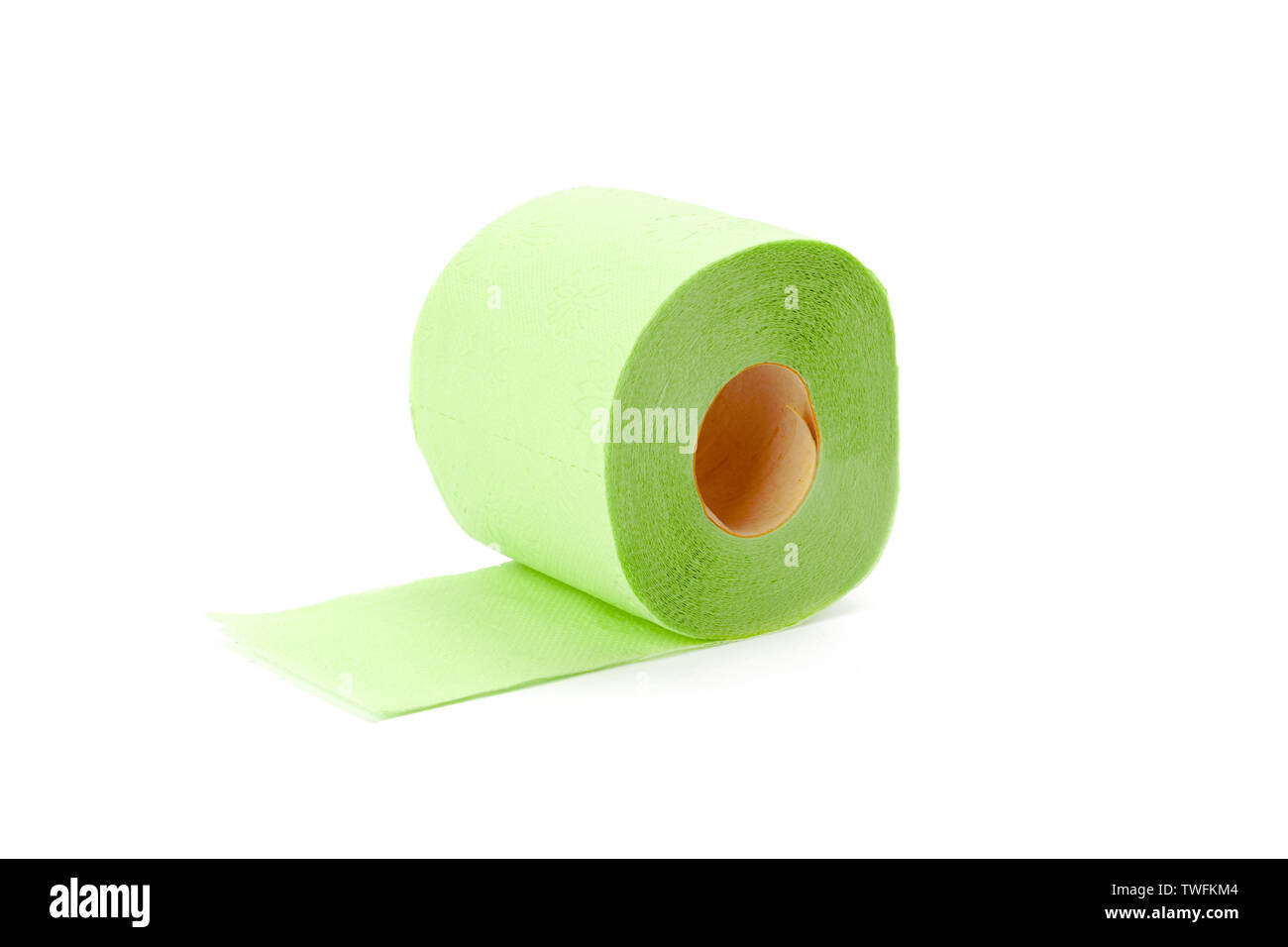 toilet paper isolated on white background - Stock Image