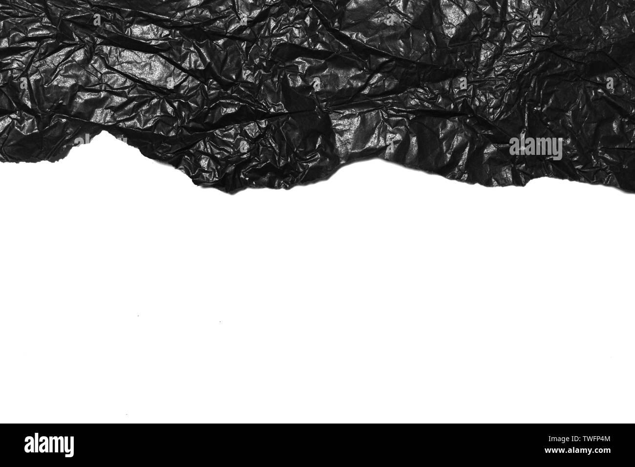 Black Paper Texture, Crumpled Paper Texture - Stock Image