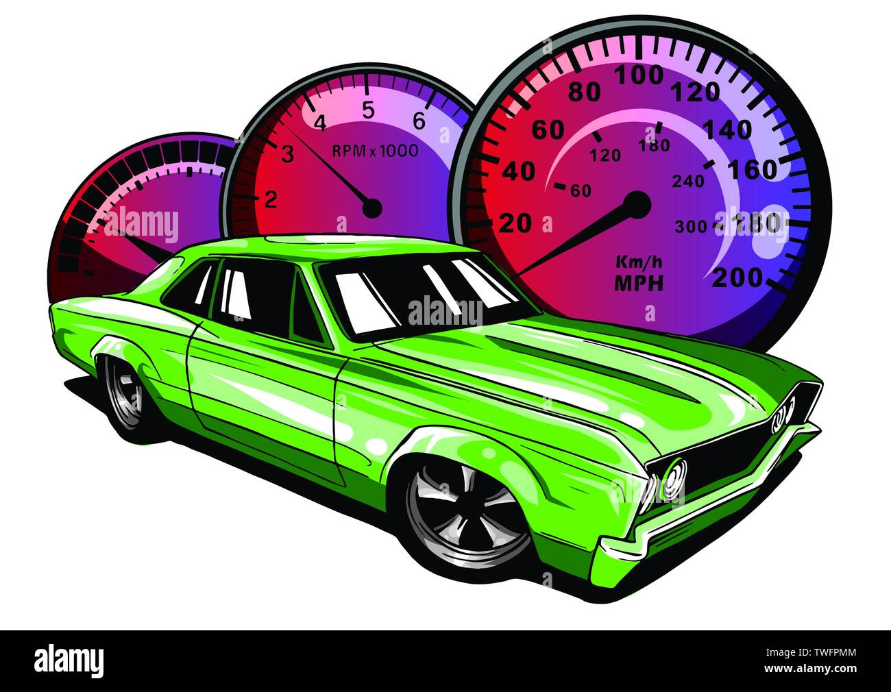 Retro muscle car vector illustration. Vintage poster of reto car. Old mobile isolated on white. - Stock Image
