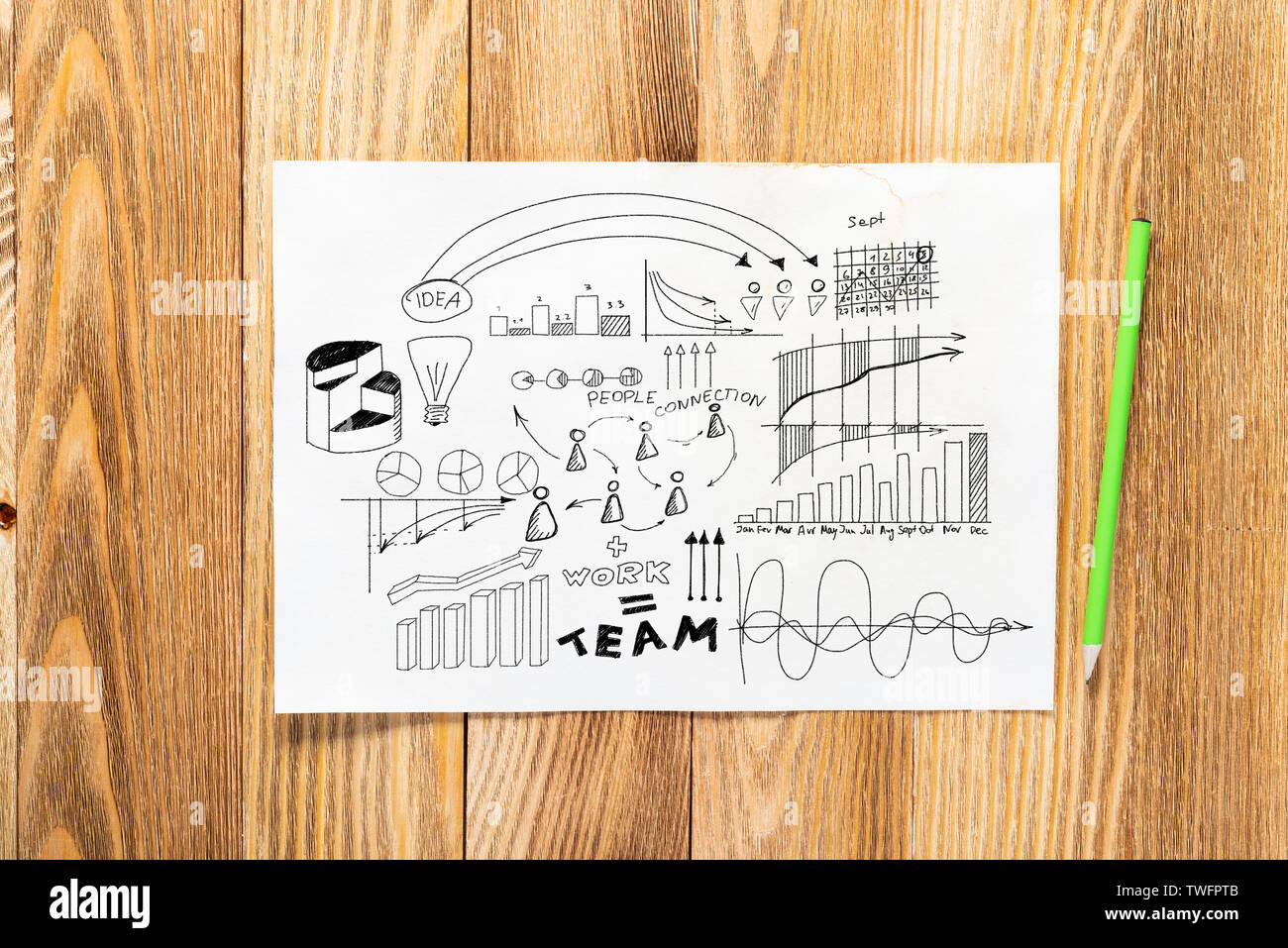 Financial statistics and analytics pencil hand drawn with group of business doodles. Strategy planning and analysis. Top view of workplace with paper - Stock Image