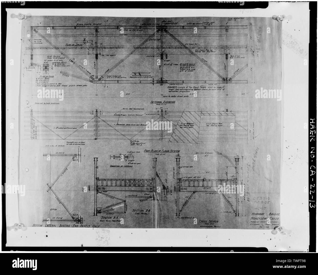 PROFILE AND PLAN, FEBRUARY 1925, HIGHWAY BRIDGE HONEYDEW CREEK, SHEET 2 - Honeydew Creek Bridge, Wilder Ridge Road, Honeydew, Humboldt County, CA - Stock Image