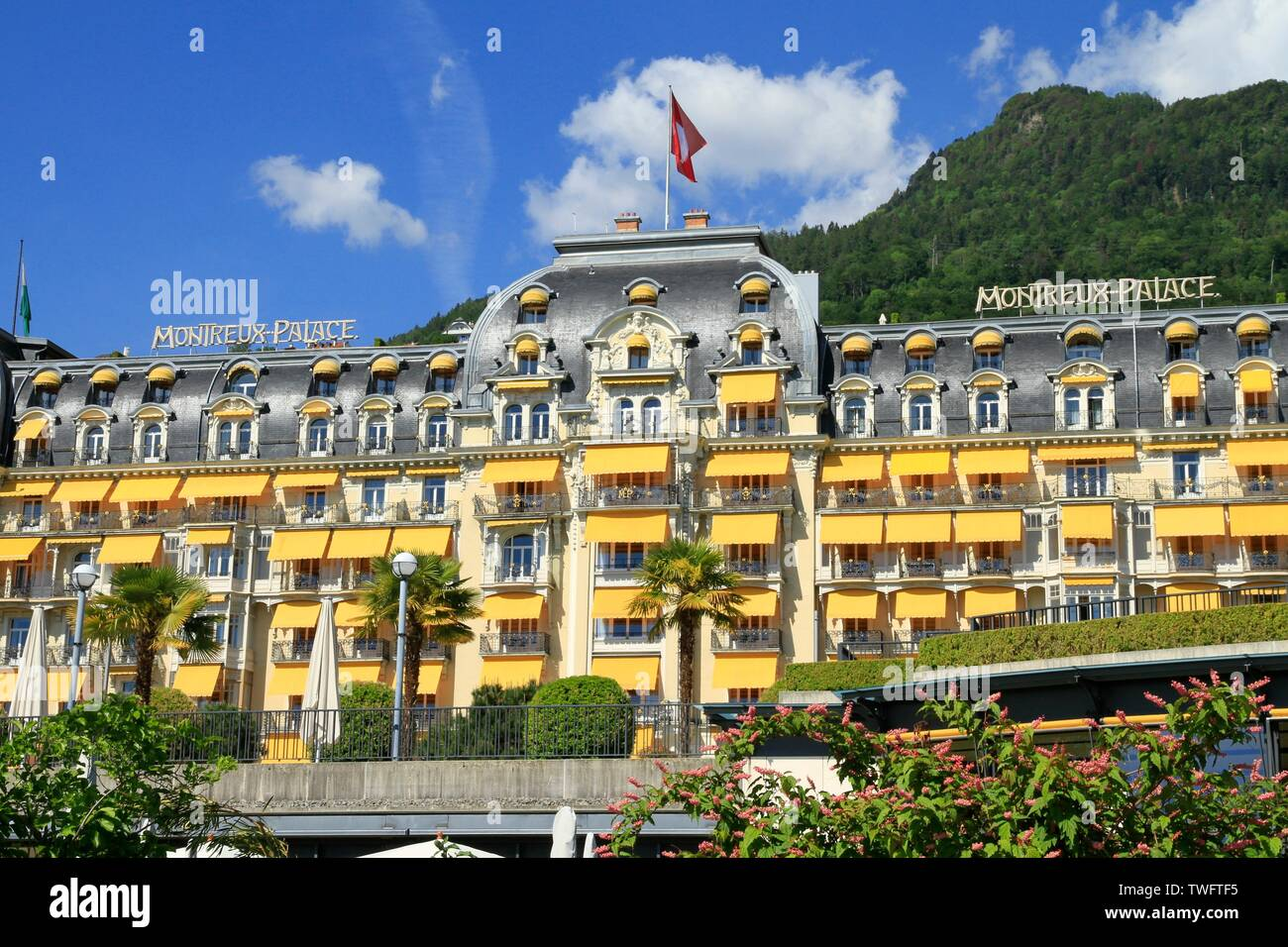 Illustration of the city of Montreux, Swiss municipality of the canton of Vaud, located in the district of the Riviera-Pays-d Enhaut, in the Alps. Stock Photo