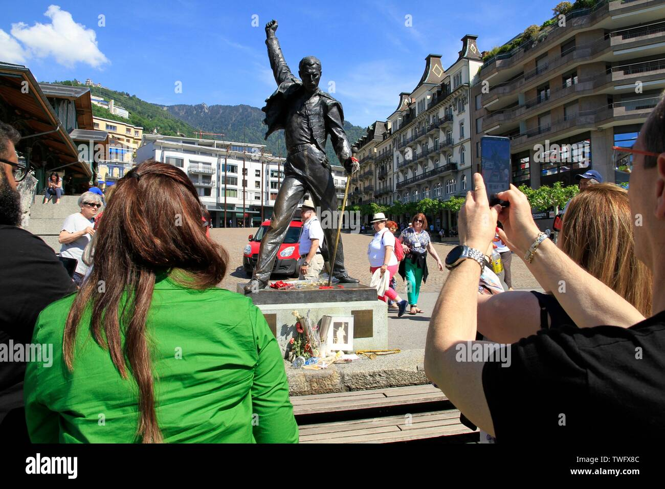 Statue of Freddie Mercury, singer of the group Queen, in Montreux which is a Swiss commune of the canton of Vaud Stock Photo