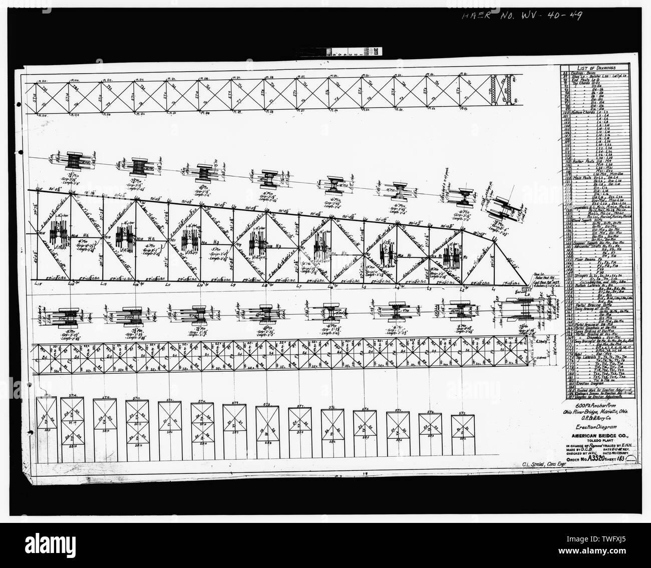 Plan Sheet -183 - Williamstown-Marietta Bridge, Spanning Ohio River between Williamstown and Marietta, Williamstown, Wood County, WV; American Bridge Company; Strobel, Charles L; Ripley, T M - Stock Image