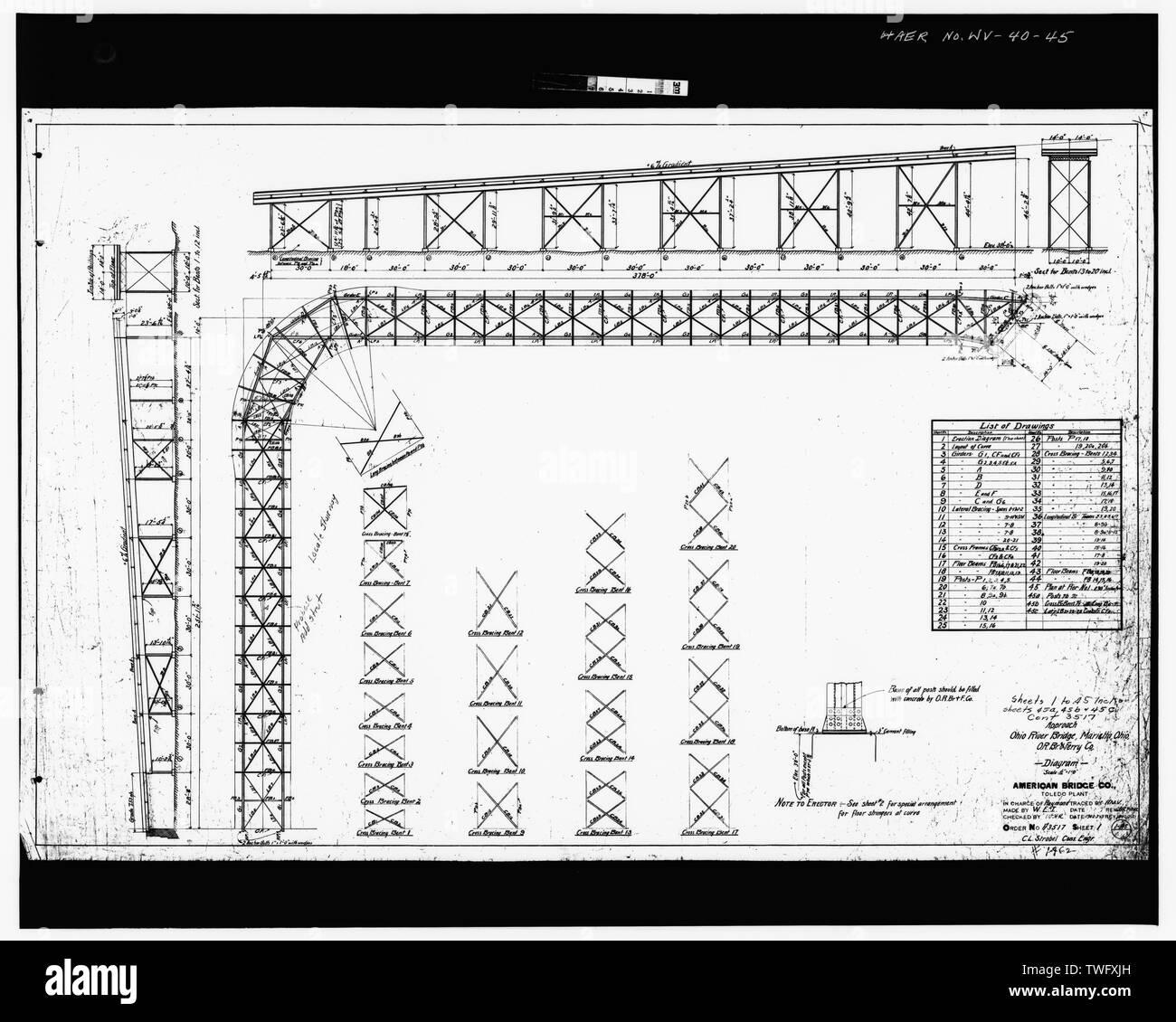 Plan Sheet -1 - Williamstown-Marietta Bridge, Spanning Ohio River between Williamstown and Marietta, Williamstown, Wood County, WV; American Bridge Company; Strobel, Charles L; Ripley, T M - Stock Image