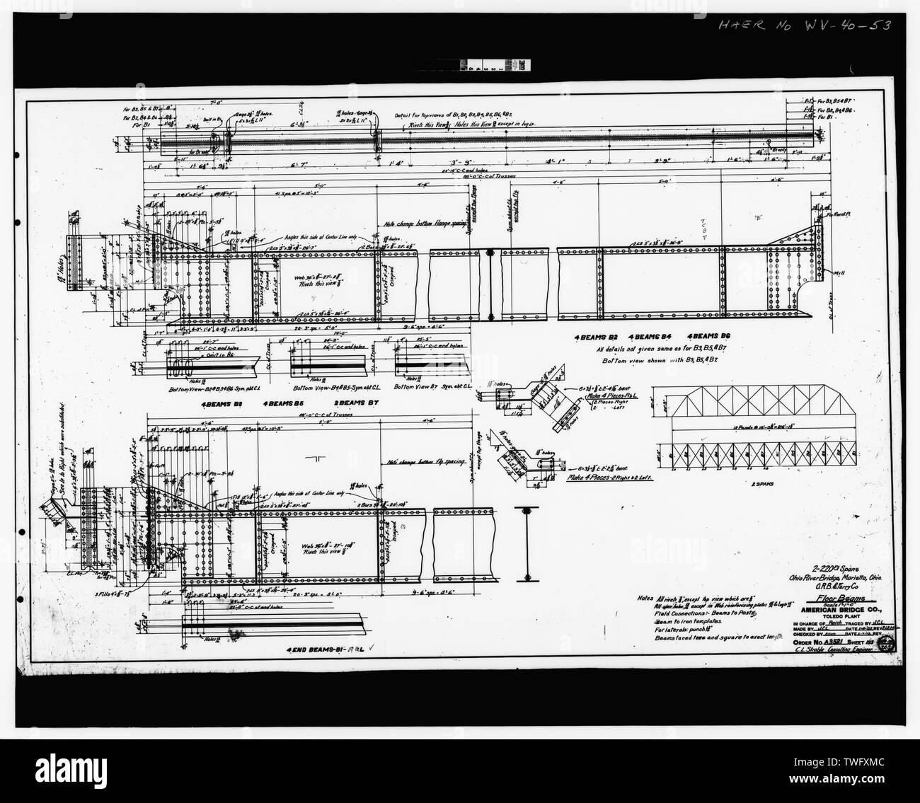 Plan Sheet -193 - Williamstown-Marietta Bridge, Spanning Ohio River between Williamstown and Marietta, Williamstown, Wood County, WV; American Bridge Company; Strobel, Charles L; Ripley, T M - Stock Image