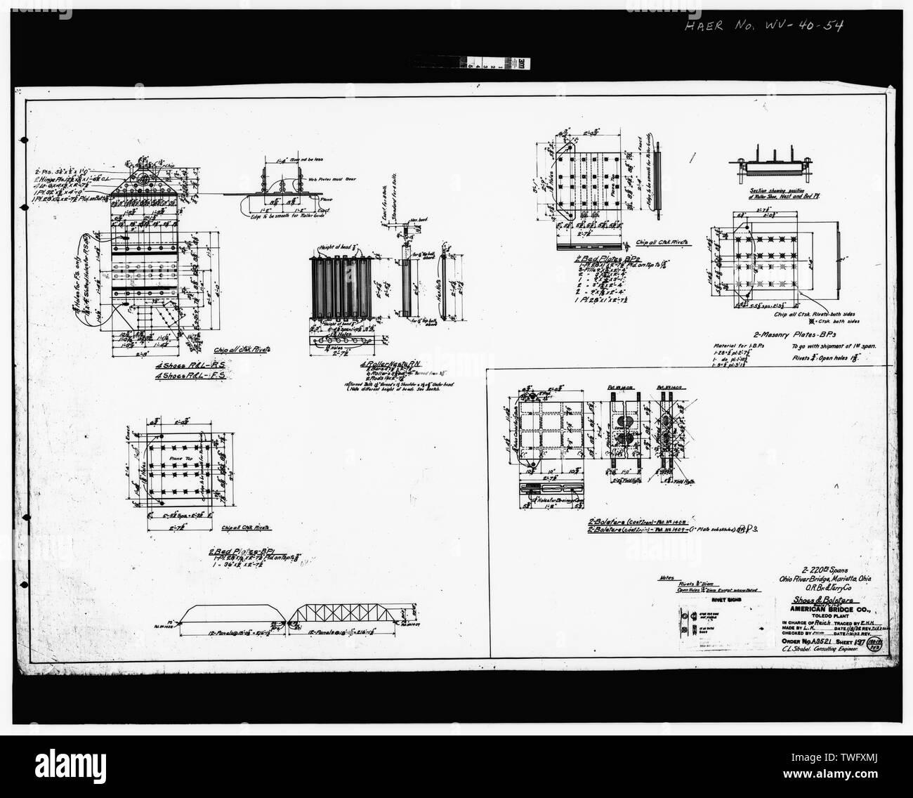 Plan Sheet -197 - Williamstown-Marietta Bridge, Spanning Ohio River between Williamstown and Marietta, Williamstown, Wood County, WV; American Bridge Company; Strobel, Charles L; Ripley, T M - Stock Image