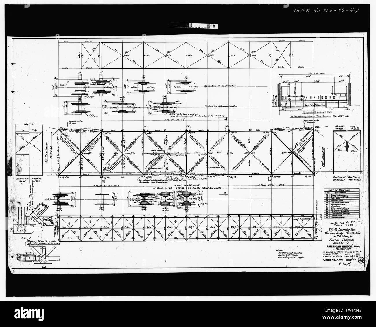Plan Sheet -75 - Williamstown-Marietta Bridge, Spanning Ohio River between Williamstown and Marietta, Williamstown, Wood County, WV; American Bridge Company; Strobel, Charles L; Ripley, T M - Stock Image