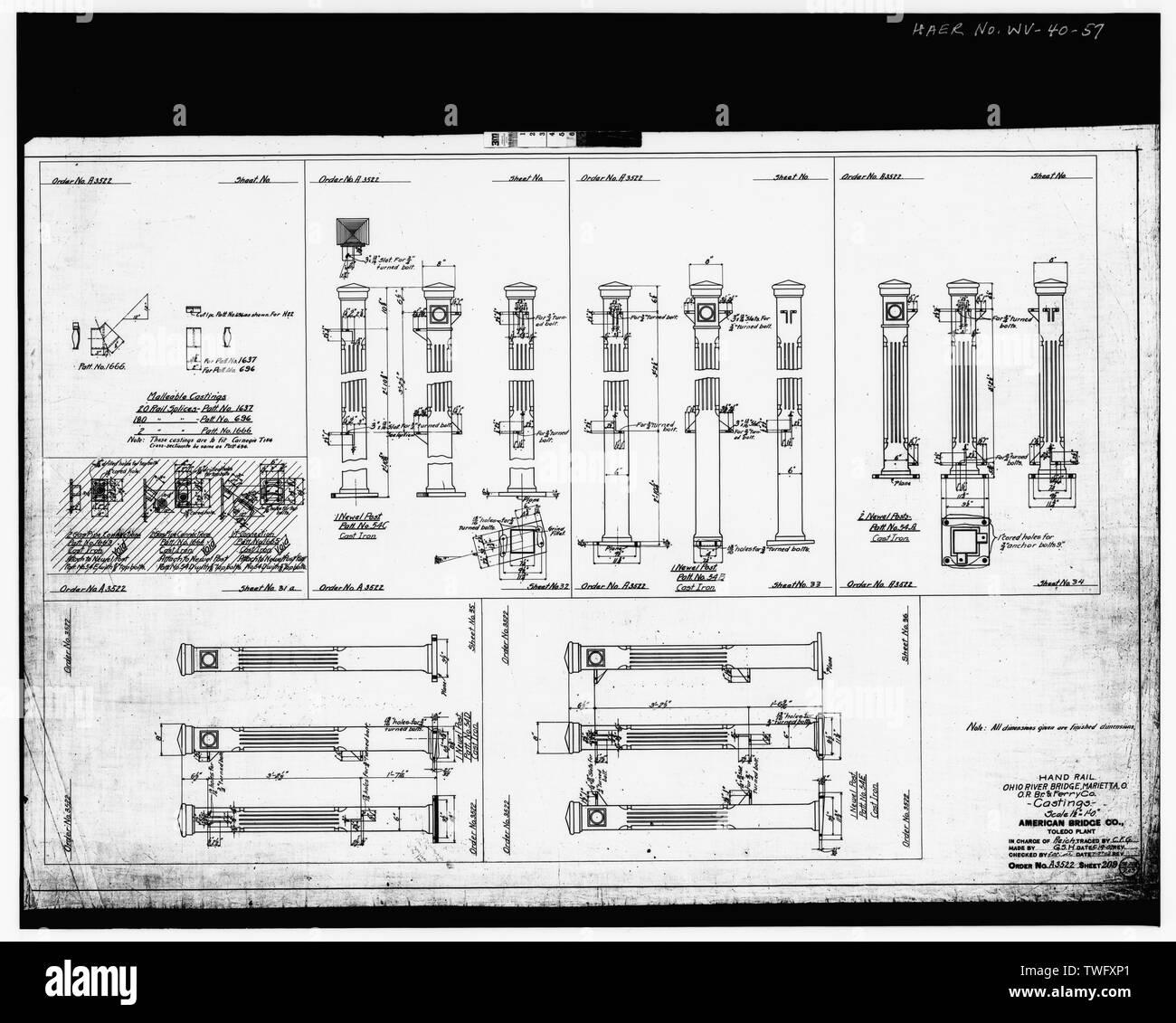 Plan Sheet -209 - Williamstown-Marietta Bridge, Spanning Ohio River between Williamstown and Marietta, Williamstown, Wood County, WV; American Bridge Company; Strobel, Charles L; Ripley, T M - Stock Image