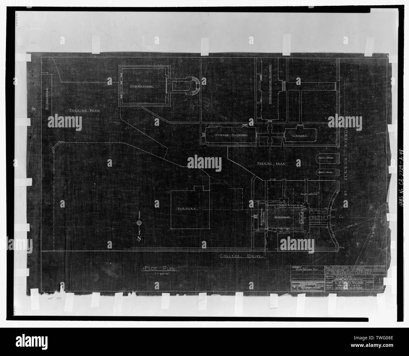 Plot plan. San Bernardino Valley Union Junior College, Auditorium building. G. Stanley Wilson, Architect, A.I.A., Riverside, California. Sheet 1, job no. 692. Scale 1 inch to forty feet. March 27, 1936. Application no. 1446, approved by the State of California, Department of Public Works, Division of Architecture, April 22, 1936. - San Bernardino Valley College, Auditorium, 701 South Mount Vernon Avenue, San Bernardino, San Bernardino County, CA - Stock Image