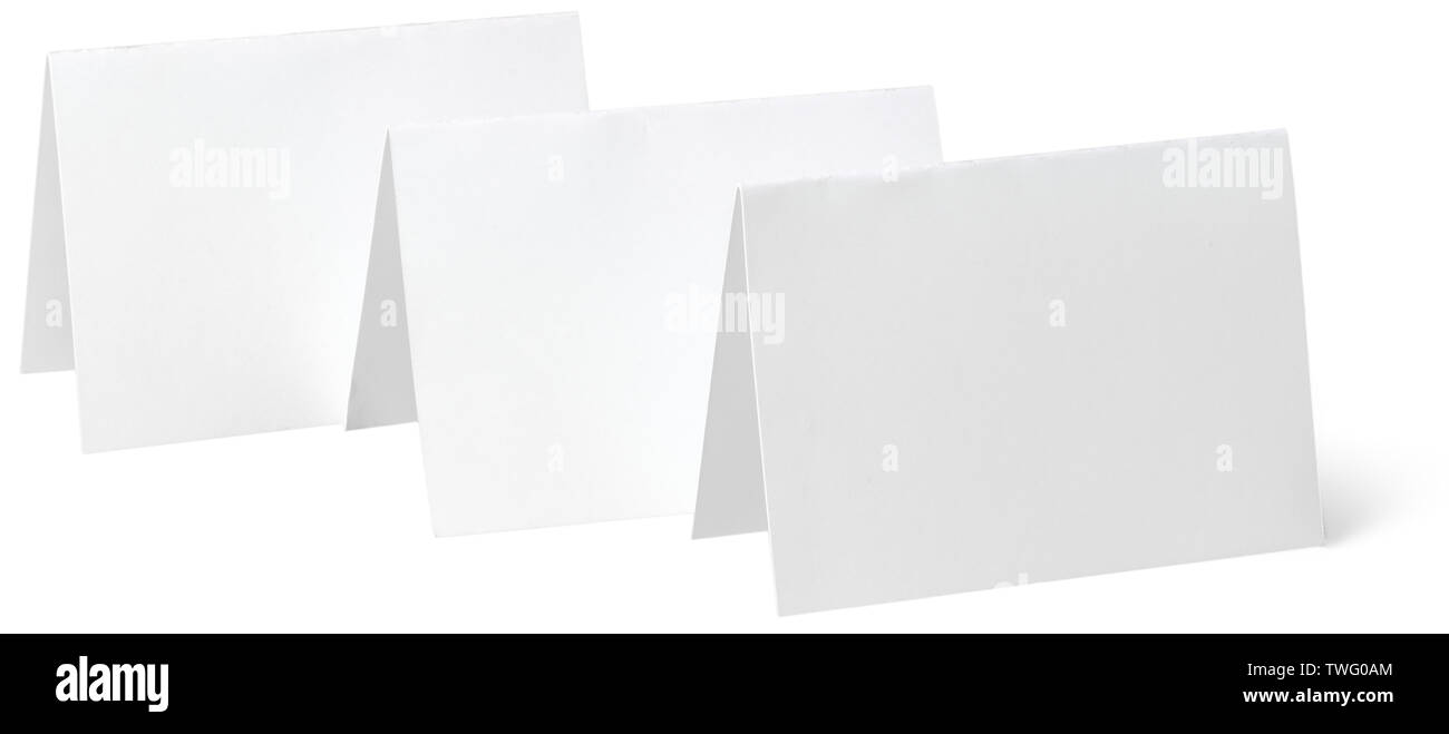 close up of a white note paper on white background - Stock Image