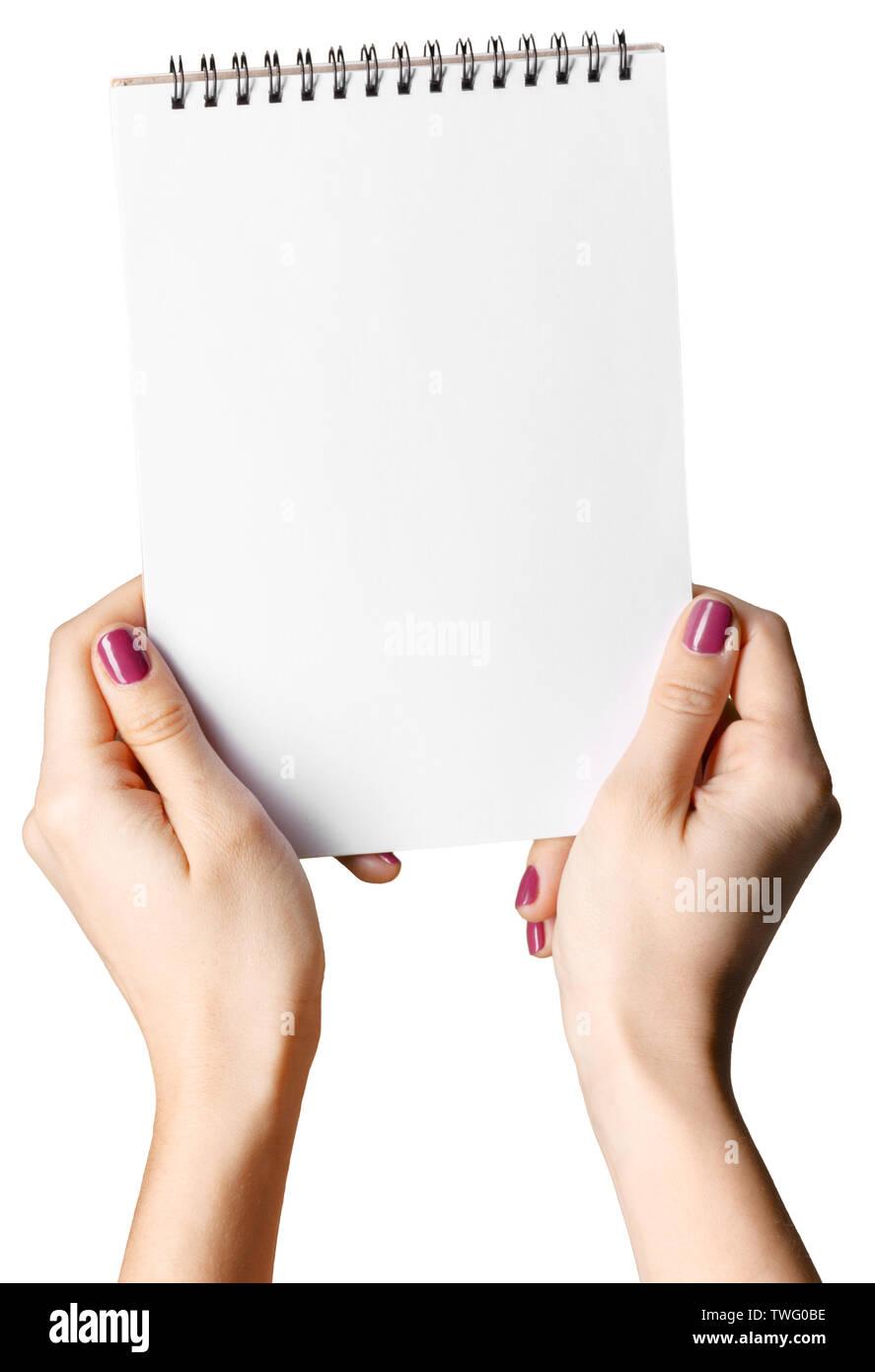 blank notepad isolated on white background - Stock Image