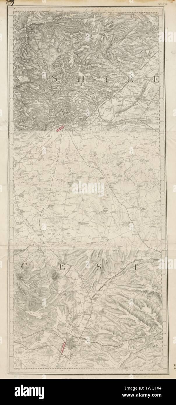 MS&LR/Great Central Leicester-Loughborough-Nottingham ORDNANCE SURVEY 1893 map - Stock Image