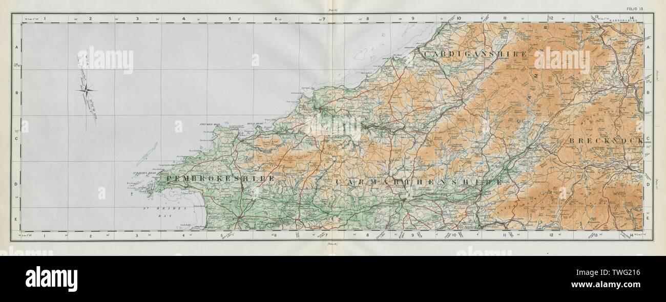 Pembrokeshire Carmarthenshire Cardiganshire Breconshire ORDNANCE SURVEY 1922 map - Stock Image