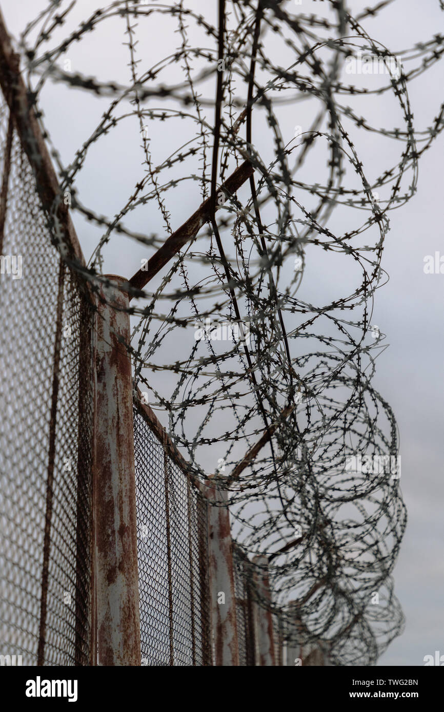 barbed wire on the fence in cloudy weather - Stock Image