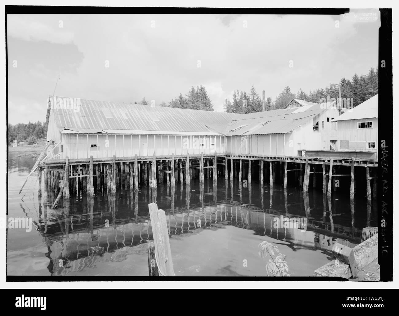 Processing building looking northeast - Kake Salmon Cannery, 540 Keku Road, Kake, Wrangell-Petersburg Census Area, AK - Stock Image