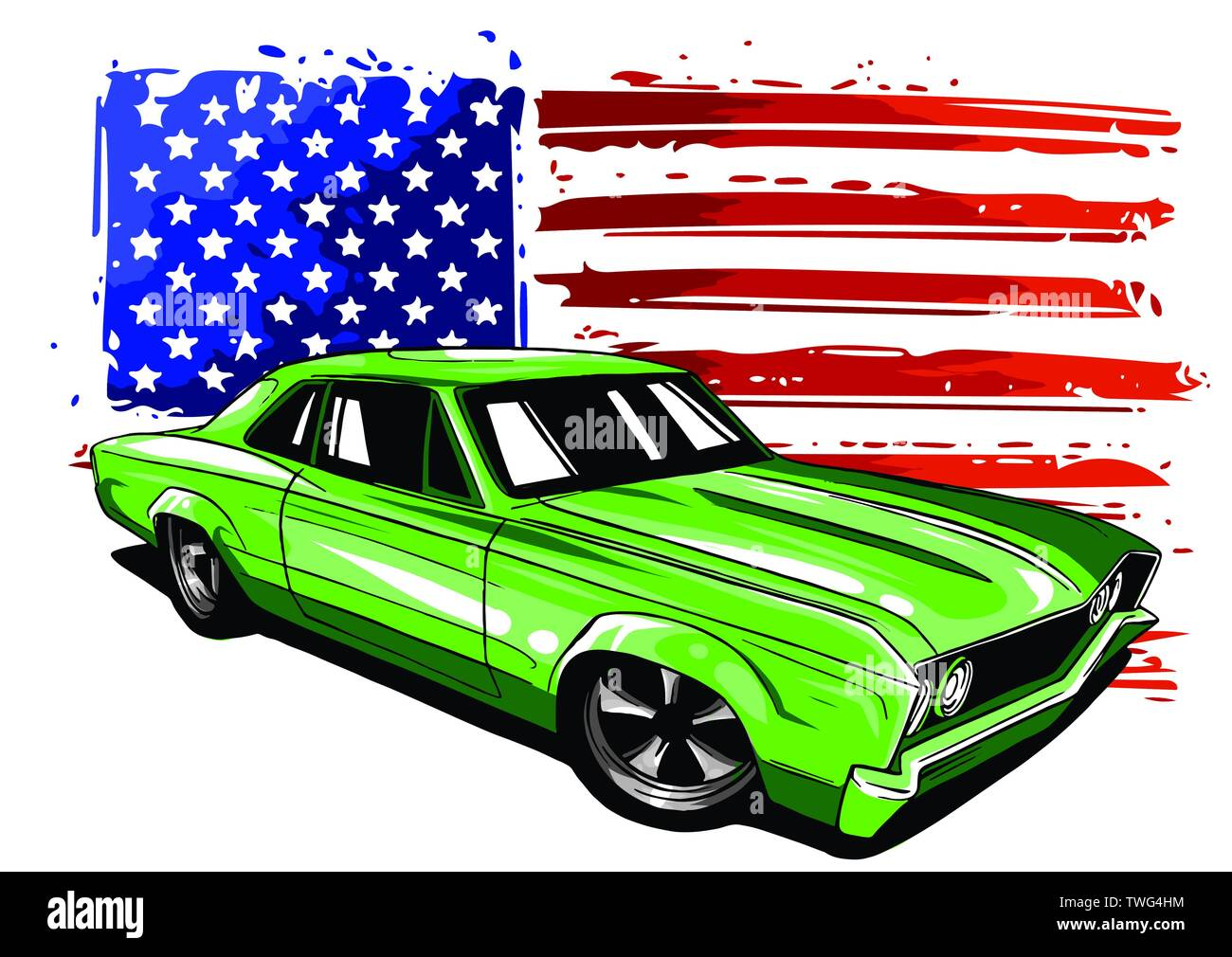 American 70s customized muscle car. Vector EPS10 isolated, separated layers - Stock Image