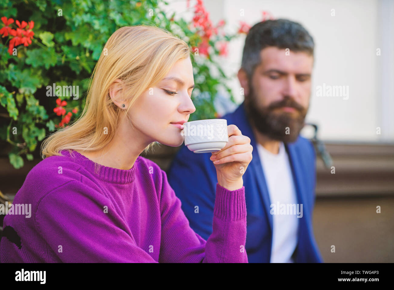 Meeting people first date. Strangers meet become acquaintances. Apps normal way to meet and connect with other single people. Couple terrace drinking coffee. Casual meet acquaintance public place. - Stock Image