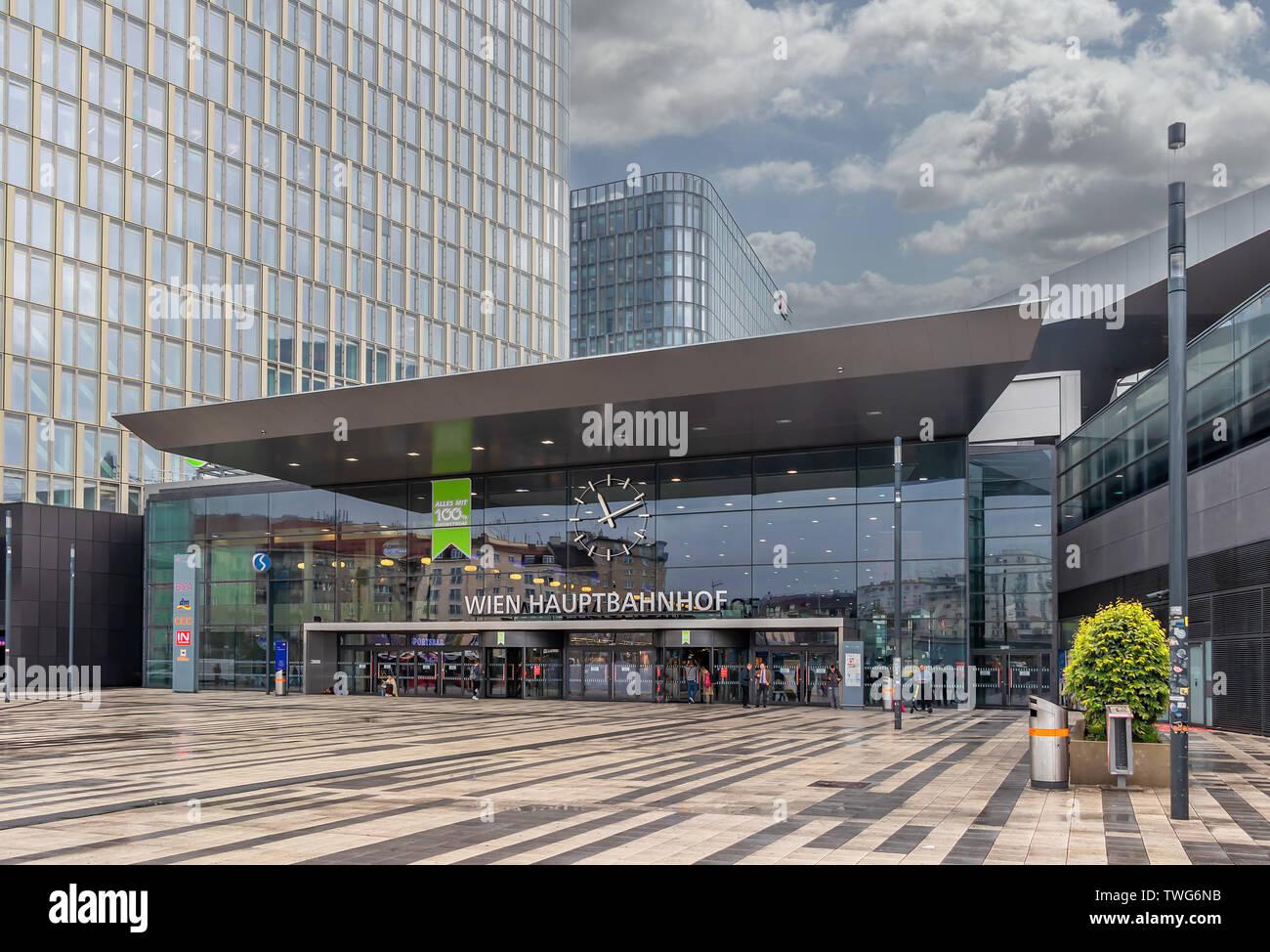 Main railway station of Vienna (Wien Hauptbahnhof) Austrian railways (OBB) in Vienna, Austria - Stock Image