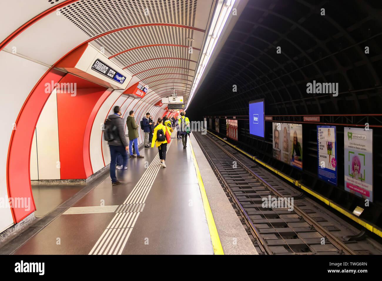 Vienna, Austria - May 23, 2019: Platform on the underground in Vienna. Vienna public transport, Wiener Linien, operates five underground lines - Stock Image