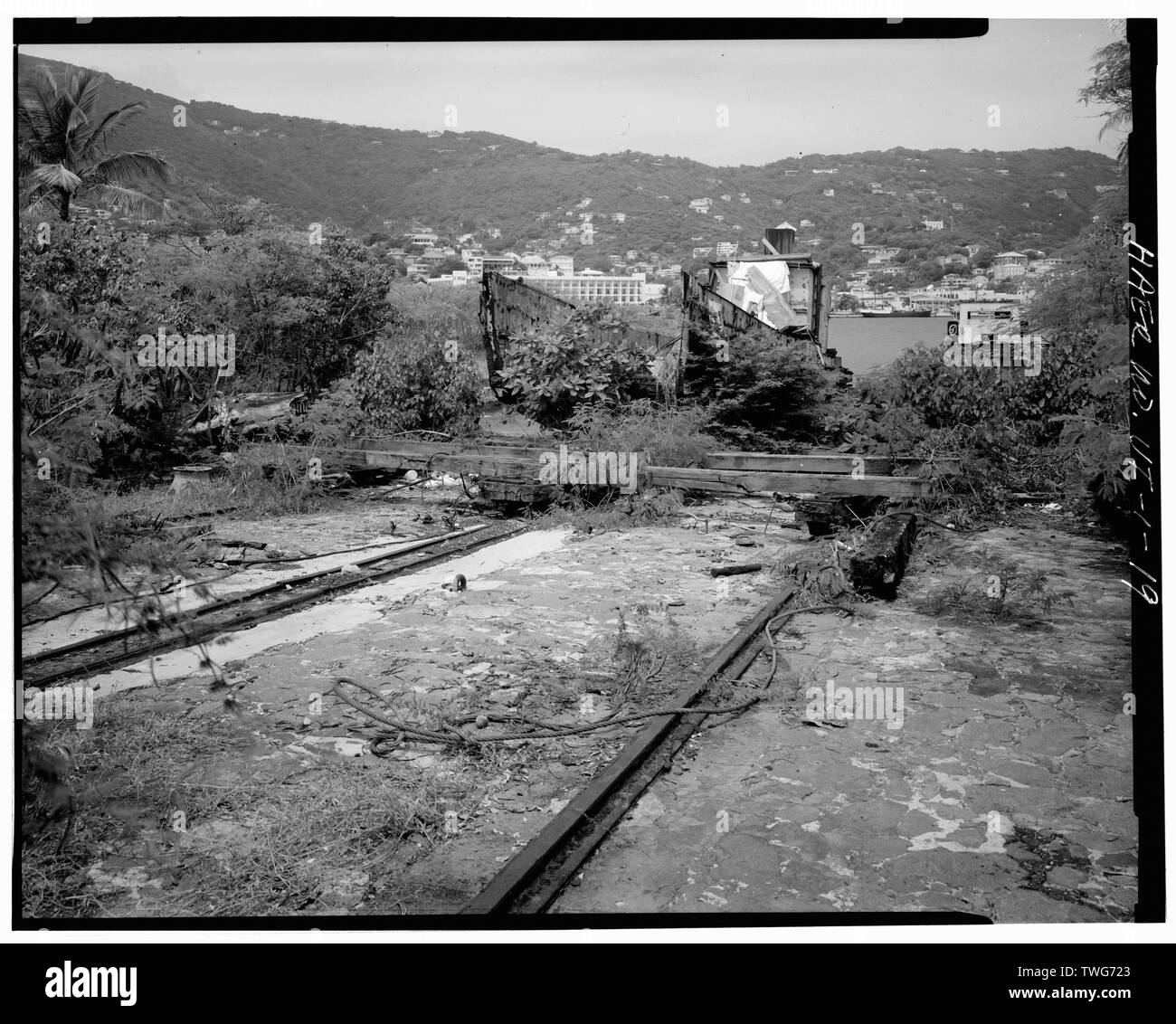 RAILWAY WITH LANDING CRAFT BACKROUND - Creque Marine Railway, Charlotte Amalie, St. Thomas, VI; St Thomas Marine Railway Company; Rothschild, L; Recht, W; Creque, Henry O; Harley, Alfonz; Creque, Herman O; Creque, Henry O, Jr; Morris, Scott, transmitter; DeBoer, Ruth, transmitter; Virgin Islands Planning Office, sponsor; Delony, Eric, project manager - Stock Image
