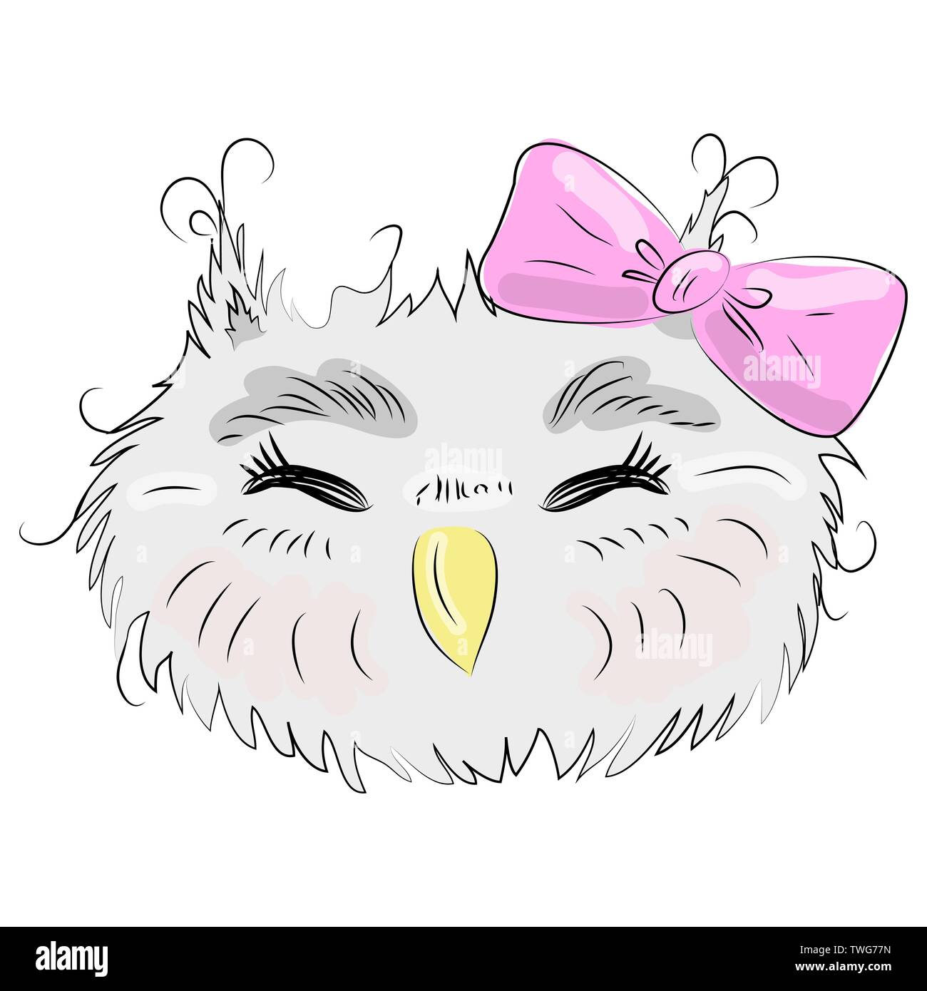 Cute owl face in a floral frame with a bow, owl, design, trendy, gray, pink, trendy - Stock Vector