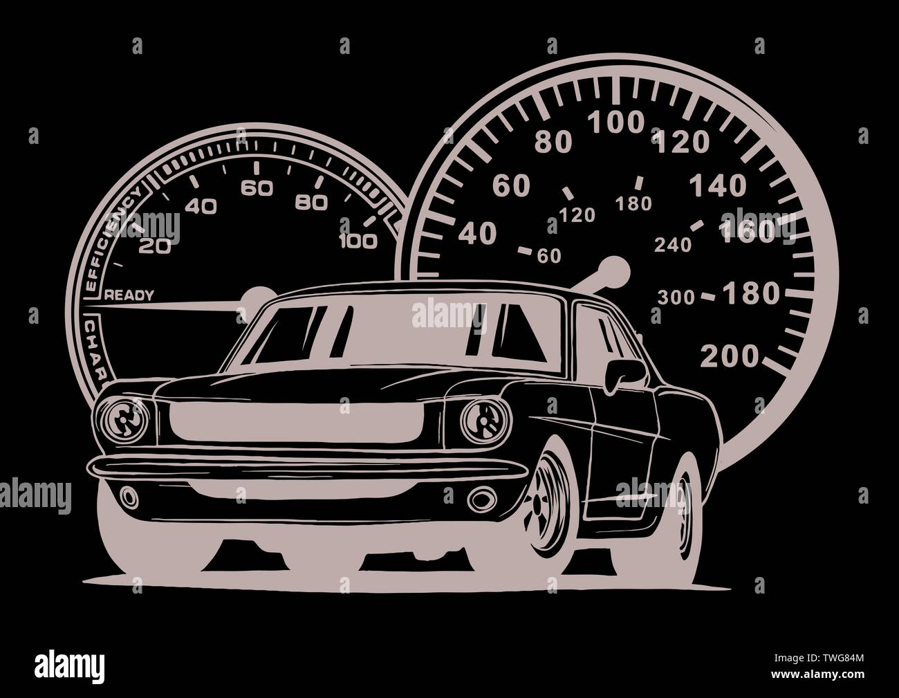 Retro muscle car illustration. Vintage poster of reto car. Old mobile isolated on white. - Stock Image
