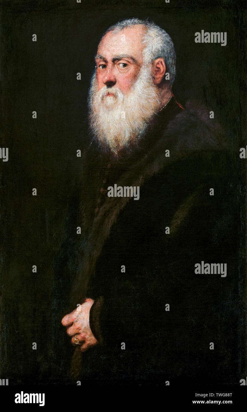 Jacopo Tintoretto, Portrait of a White-Bearded Man, portrait painting, circa 1570 Stock Photo