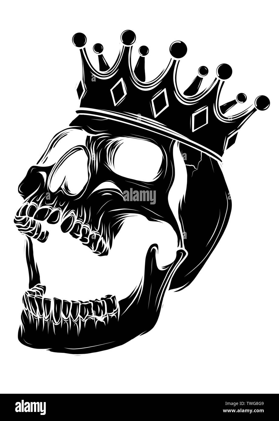 Hand Drawn King Skull Wearing Crown Vector Illustration Stock Vector Image Art Alamy Are you searching for cartoon skull png images or vector? https www alamy com hand drawn king skull wearing crown vector illustration image256669513 html