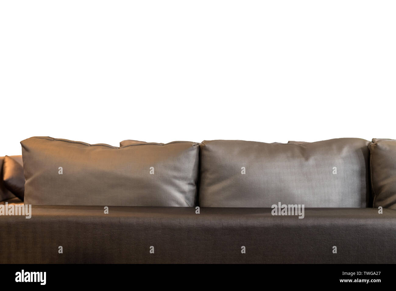 Back of sofa in living room on white background - Stock Image