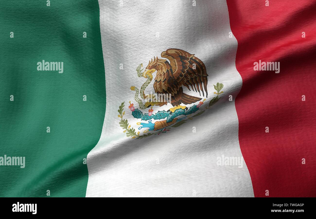 3D Illustration of Mexico Flag - Stock Image