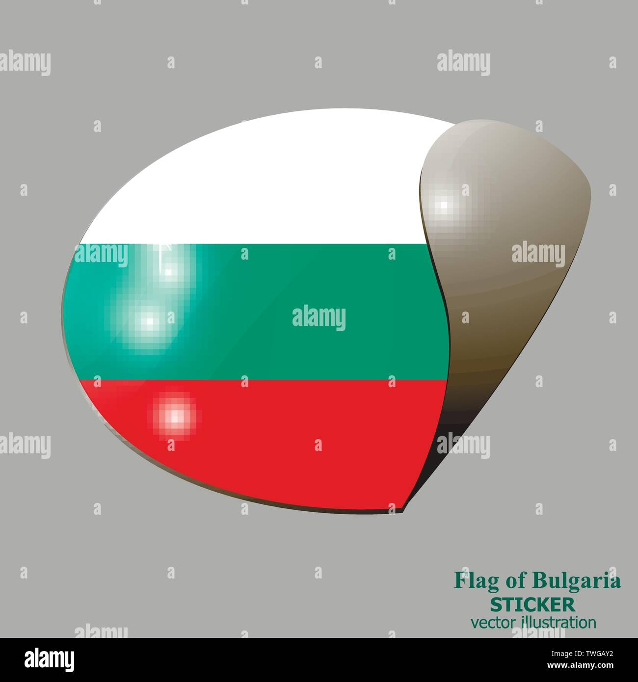 Bright sticker with flag of Bulgaria . Happy Bulgaria day background. Bright button with flag. Vector illustration with white background. Stock Vector