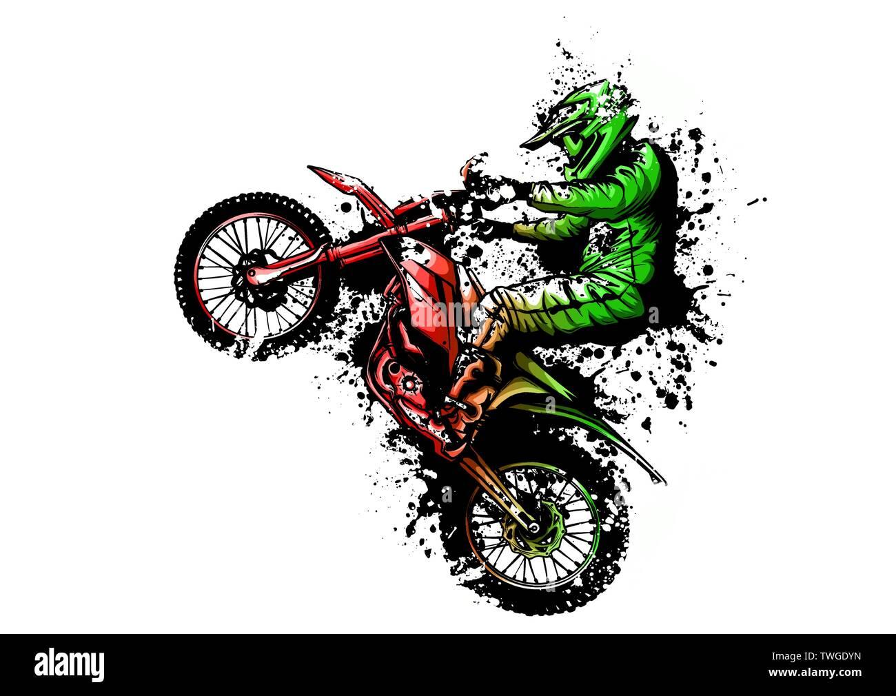 Motocross Rider Ride The Motocross Bike Vector Illustration Stock Vector Image Art Alamy