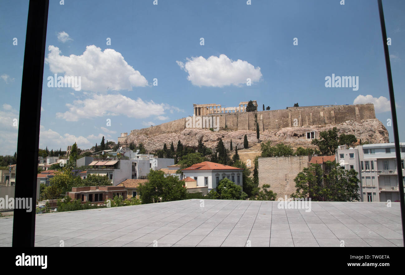 The Acropolis from the New Acropolis Museum in Athens Greece Stock Photo