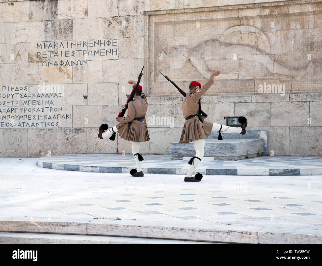 Changing of the Guard at the Tomb of the Unknown Soldier in Athens, Greece Stock Photo