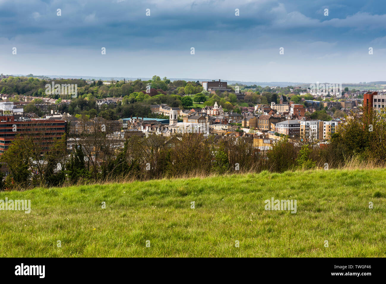 Chatham and Rochester viewed from the Heritage Park in Gillingham - Stock Image