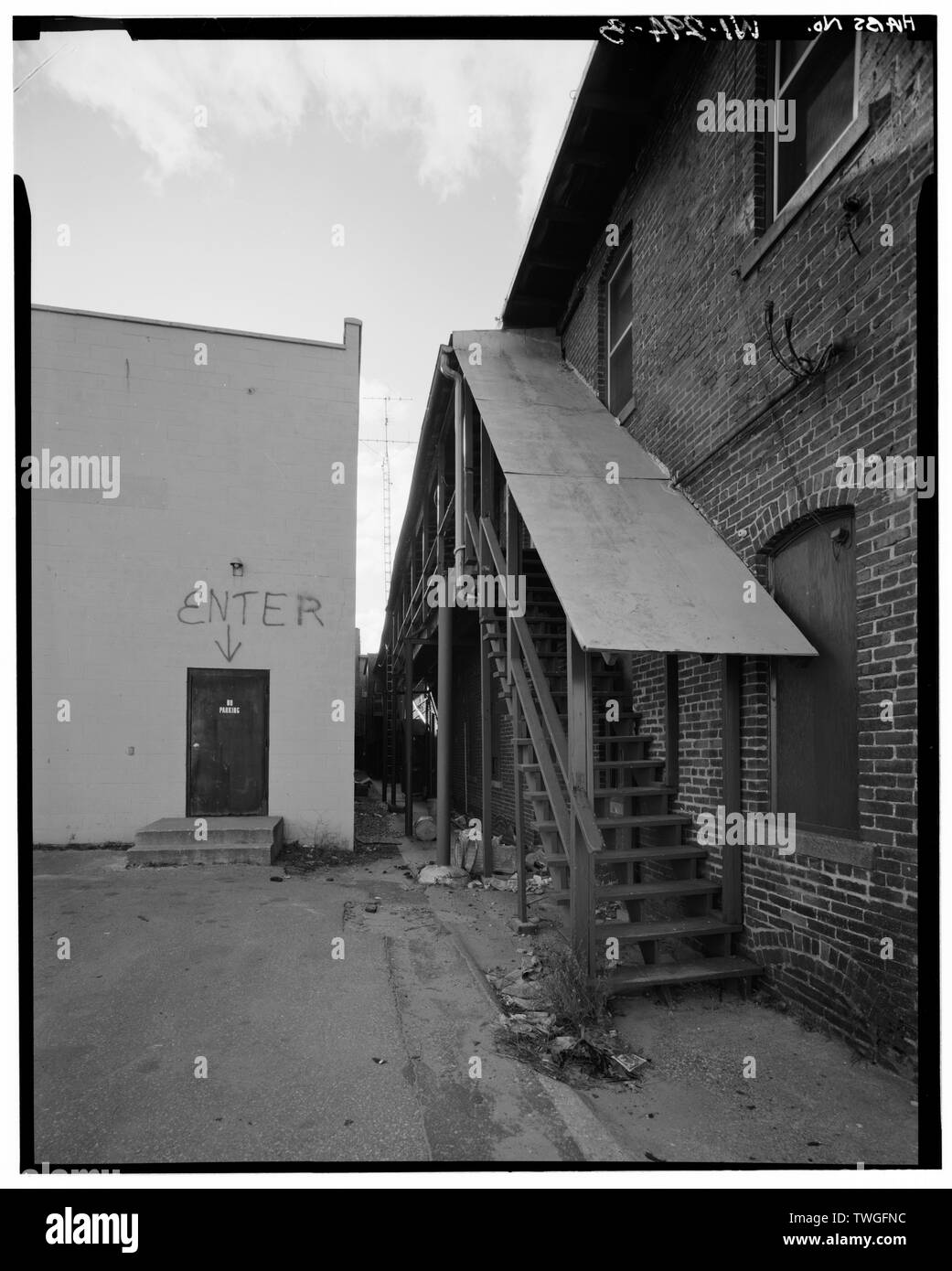 REAR VIEW TO SOUTH - 1201-1211 Third Street (Commercial Building), Stevens Point, Portage County, WI Stock Photo