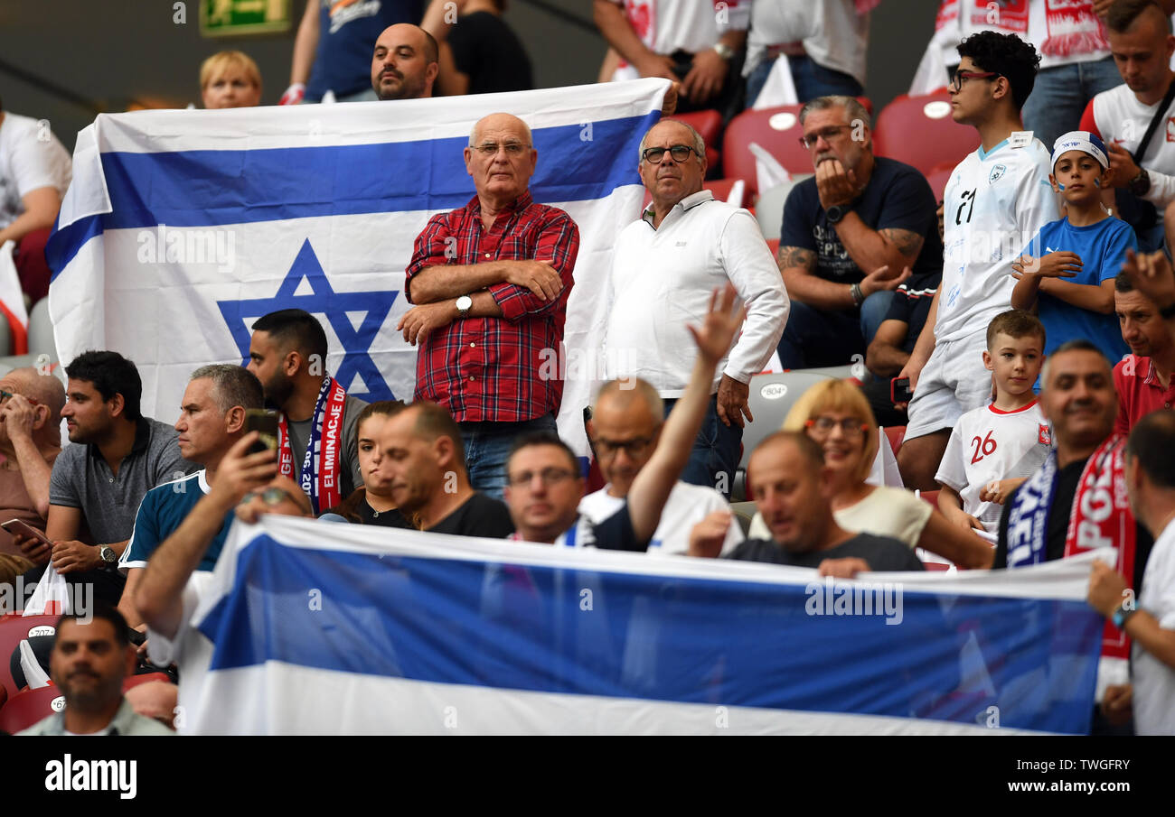 Warsaw, Poland, June 10, 2019: EURO 2020 qualifing round, group stage, Poland wins 4:0 with Izarel on PGE Narodowy. Football fans from Izrael - Stock Image