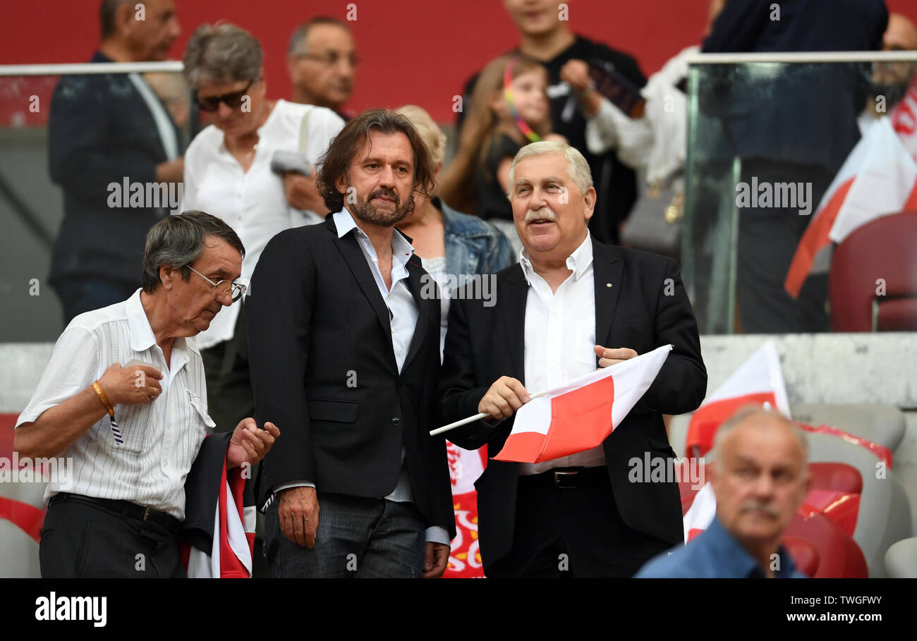 Warsaw, Poland, June 10, 2019: EURO 2020 qualifing round, group stage, Poland wins 4:0 with Izarel on PGE Narodowy. Jerzy Engel ex coach of Poland National Team - Stock Image