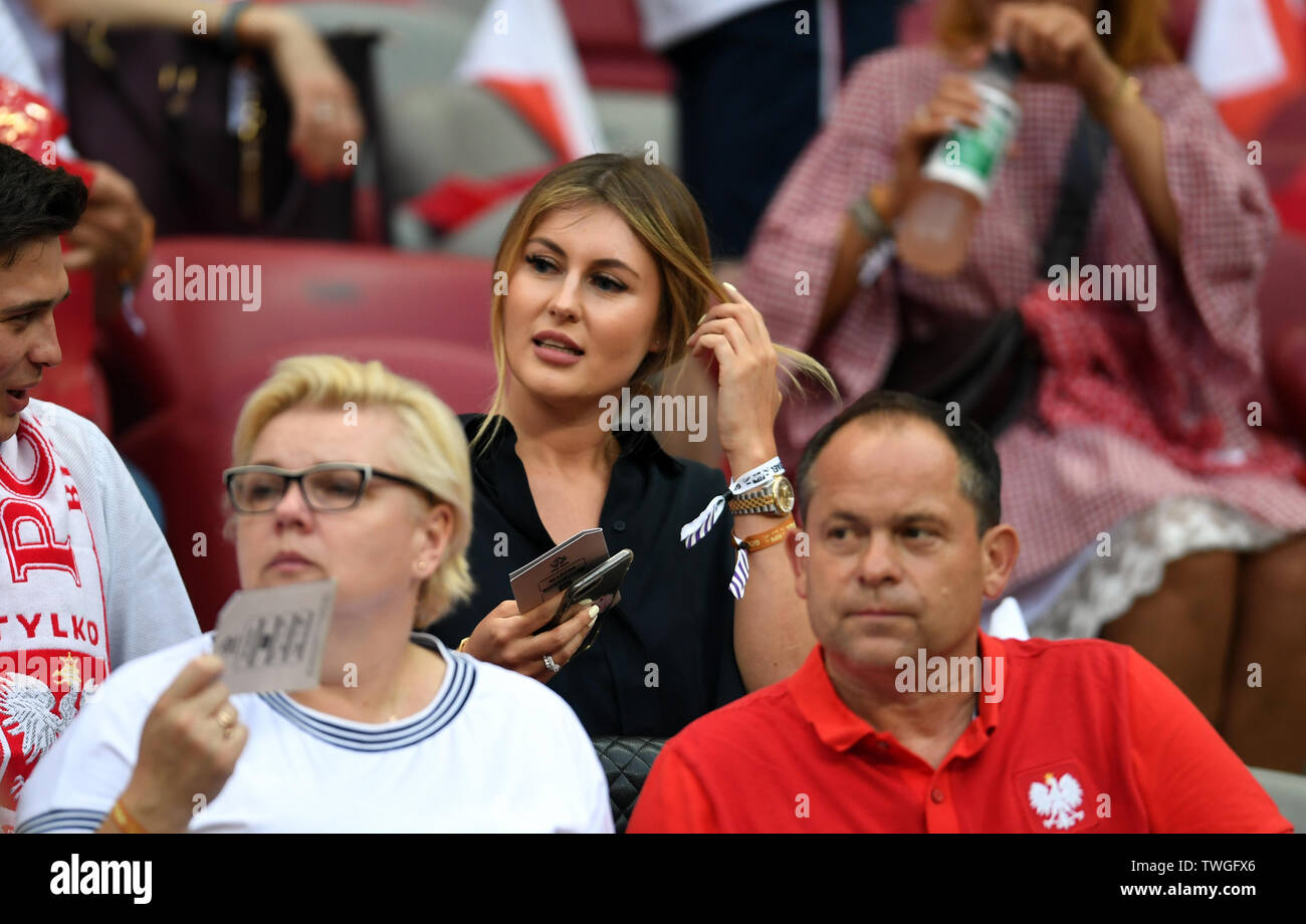 Warsaw, Poland, June 10, 2019: EURO 2020 qualifing round, group stage, Poland wins 4:0 with Izarel on PGE Narodowy. Paulina Piatek wife of Krzysztof Piatek (Poland) - Stock Image