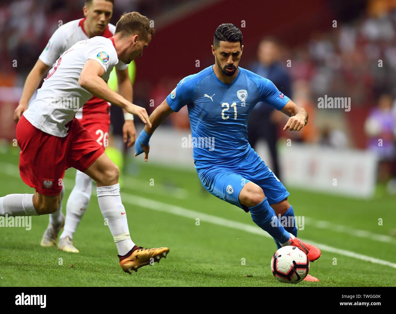 Warsaw, Poland, June 10, 2019: EURO 2020 qualifing round, group stage, Poland wins 4:0 with Izarel on PGE Narodowy. Beram Kayal (Izrael) - Stock Image