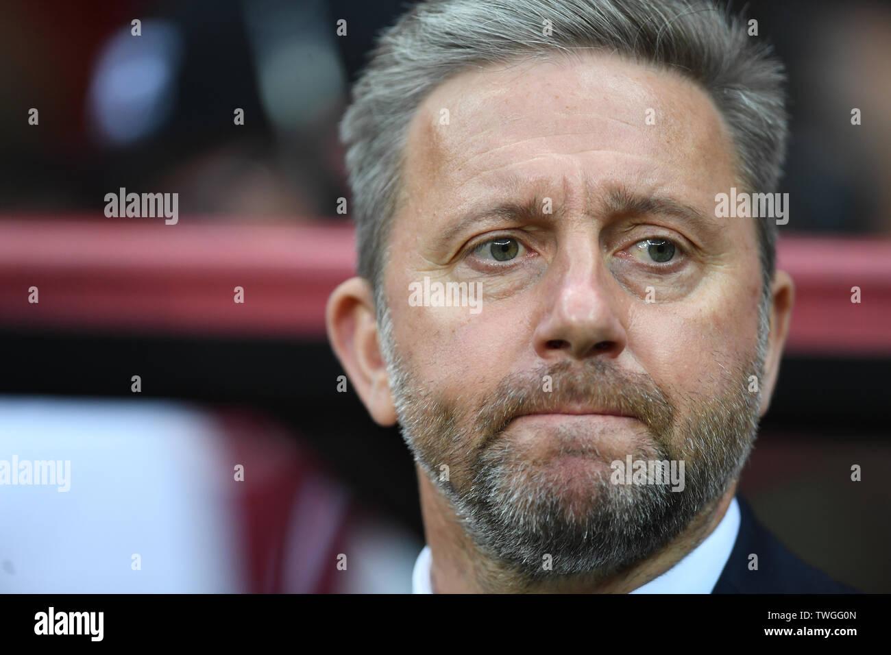 Warsaw, Poland, June 10, 2019: EURO 2020 qualifing round, group stage, Poland wins 4:0 with Izarel on PGE Narodowy. Jerzy Brzeczek Coach (Poland) - Stock Image