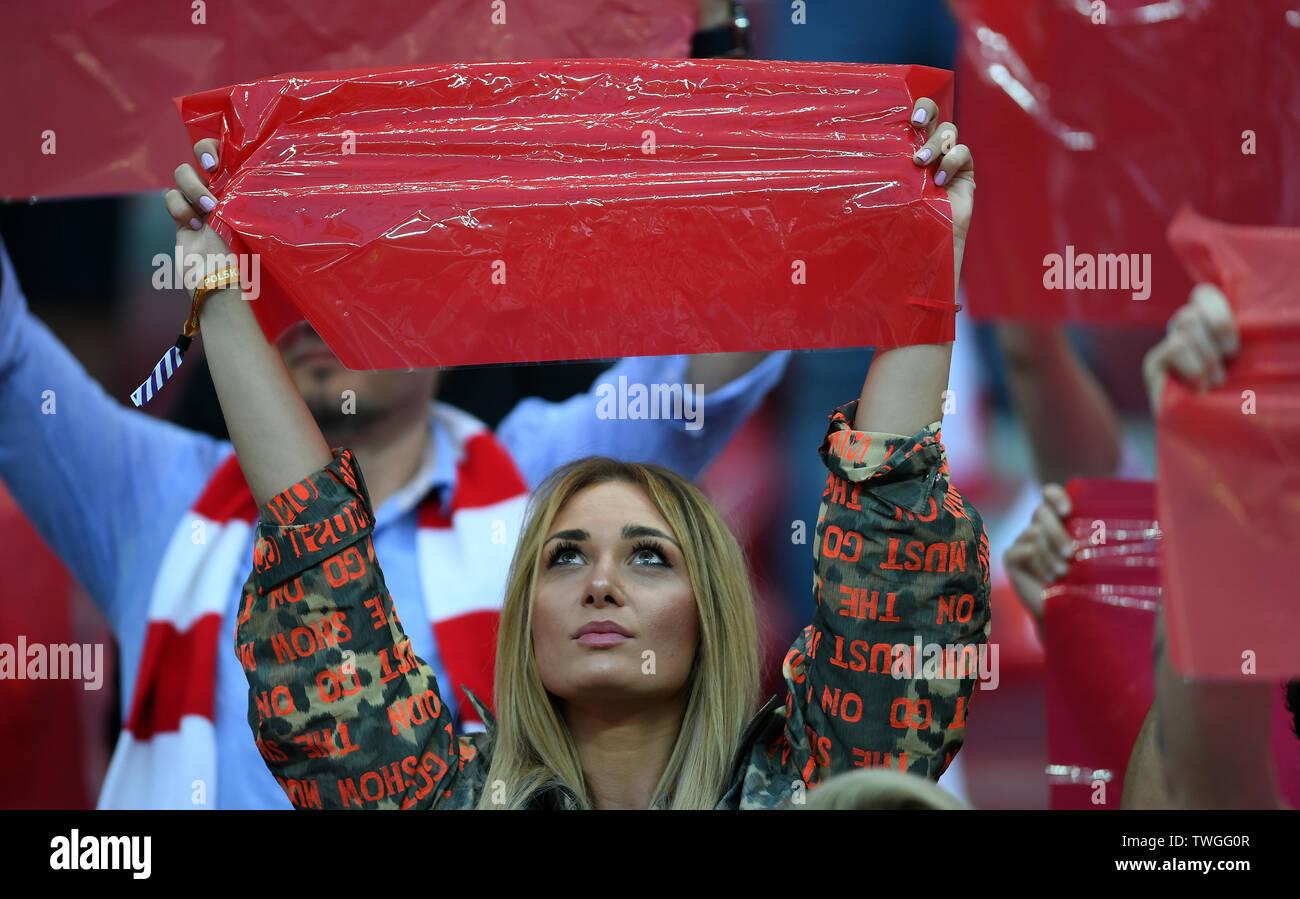 Warsaw, Poland, June 10, 2019: EURO 2020 qualifing round, group stage, Poland wins 4:0 with Izarel on PGE Narodowy. Jessica Ziolek girlfriend of Arkadiusz Milik (Poland) - Stock Image
