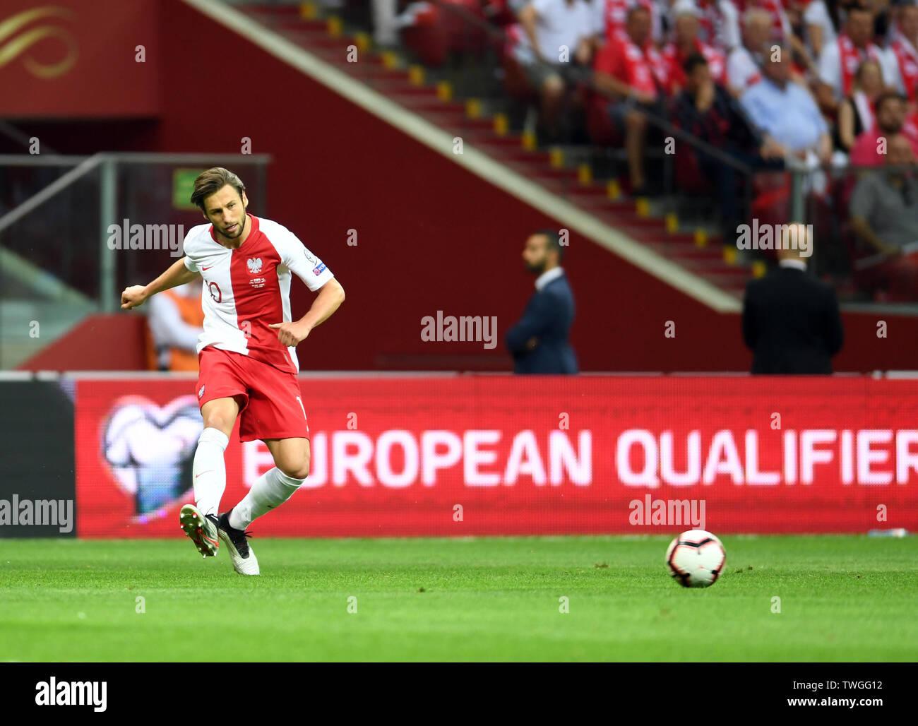 Warsaw, Poland, June 10, 2019: EURO 2020 qualifing round, group stage, Poland wins 4:0 with Izarel on PGE Narodowy. Grzegorz Krychowiak (Poland) - Stock Image