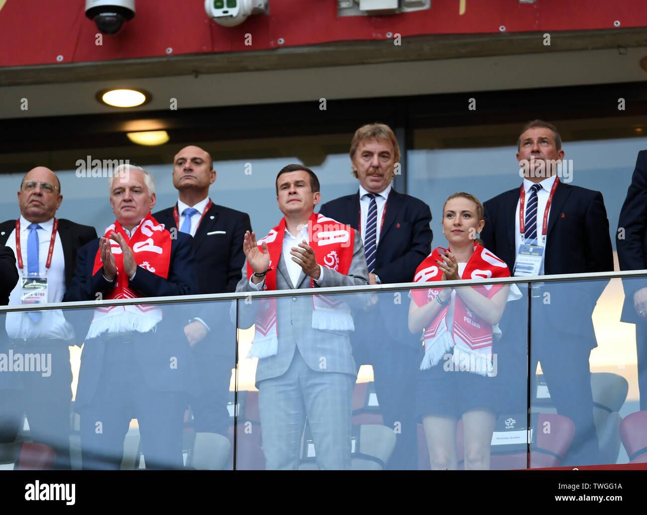 Warsaw, Poland, June 10, 2019: EURO 2020 qualifing round, group stage, Poland wins 4:0 with Izarel on PGE Narodowy. Jaroslaw Gowin, Witold Banka, Zbigniew Boniek - Stock Image