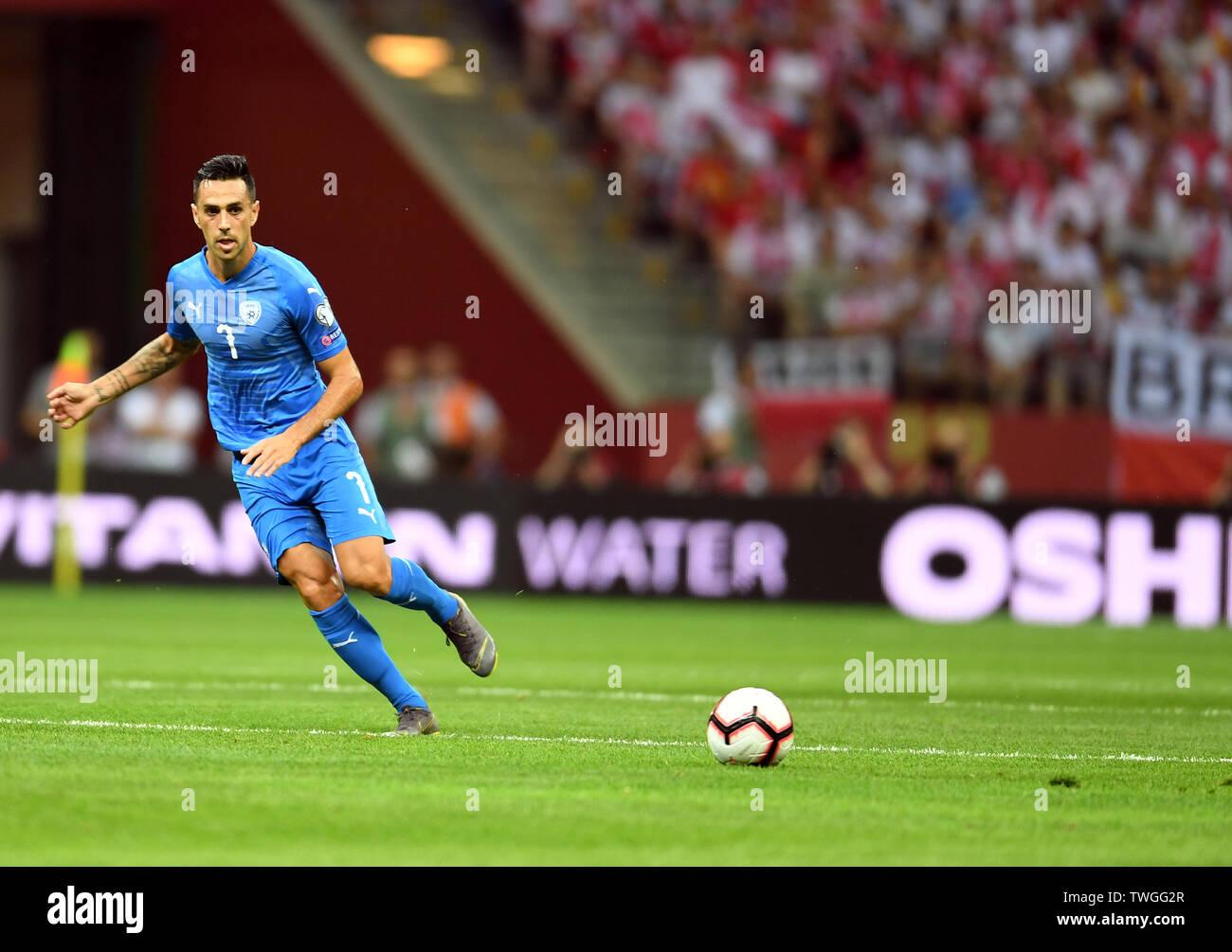 Warsaw, Poland, June 10, 2019: EURO 2020 qualifing round, group stage, Poland wins 4:0 with Izarel on PGE Narodowy. Eran Zahavi (Izrael) - Stock Image