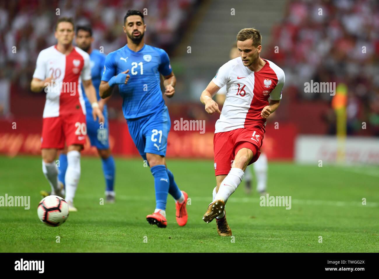 Warsaw, Poland, June 10, 2019: EURO 2020 qualifing round, group stage, Poland wins 4:0 with Izarel on PGE Narodowy. Tomasz Kedziora (Poland) - Stock Image