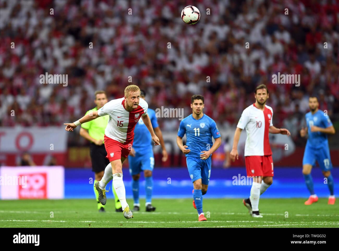 Warsaw, Poland, June 10, 2019: EURO 2020 qualifing round, group stage, Poland wins 4:0 with Izarel on PGE Narodowy. Kamil Glik (Poland) - Stock Image