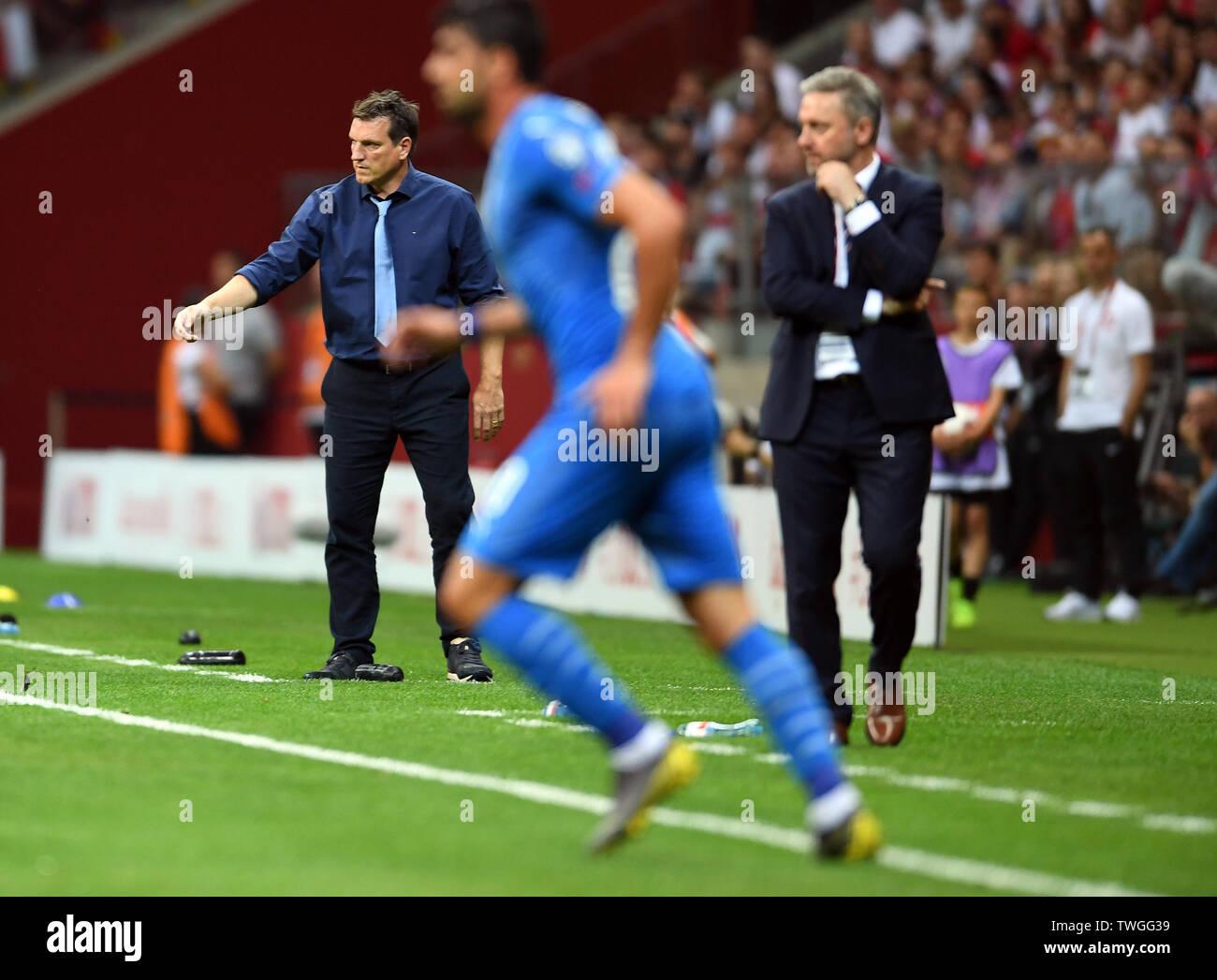 Warsaw, Poland, June 10, 2019: EURO 2020 qualifing round, group stage, Poland wins 4:0 with Izarel on PGE Narodowy. Andreas Herzog coach (Izrael) Jerzy Brzeczek Coach (Poland) - Stock Image