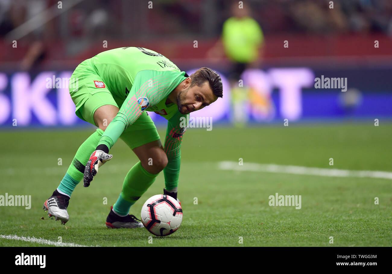 Warsaw, Poland, June 10, 2019: EURO 2020 qualifing round, group stage, Poland wins 4:0 with Izarel on PGE Narodowy. Lukasz Fabianski (Poland) - Stock Image